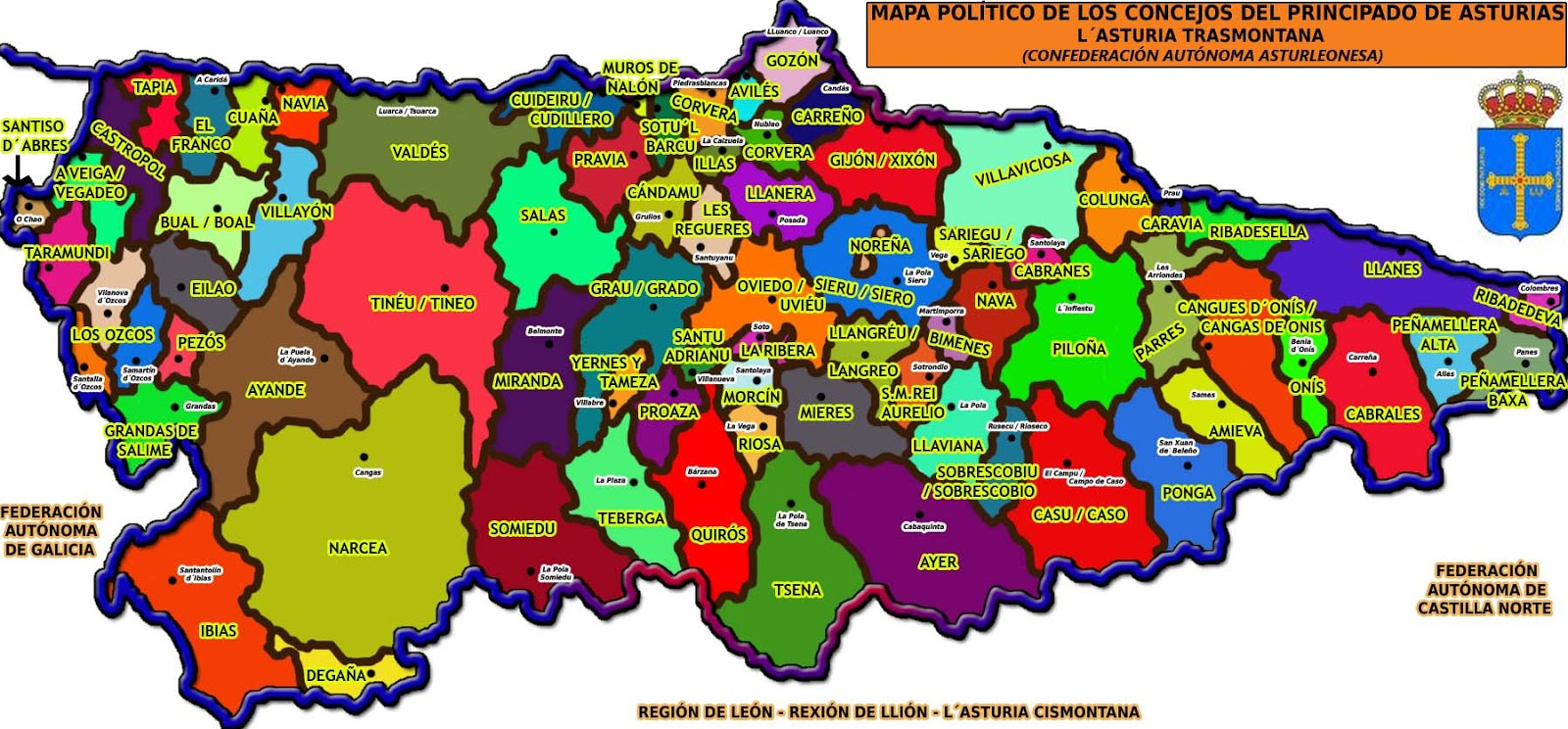 Mapa De Asturias Concejos.Mapa Politico Asturias