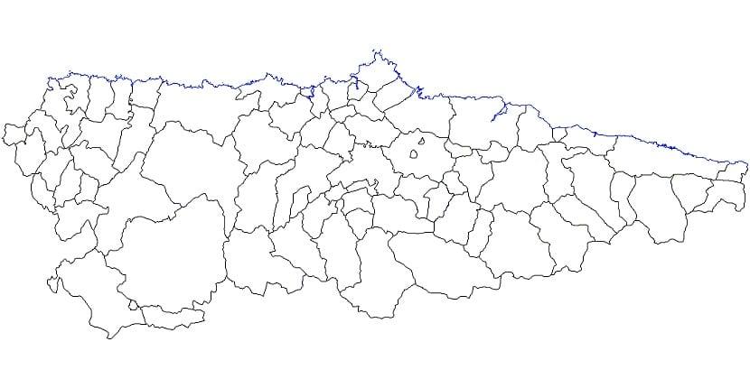 Mapa político mudo Asturias