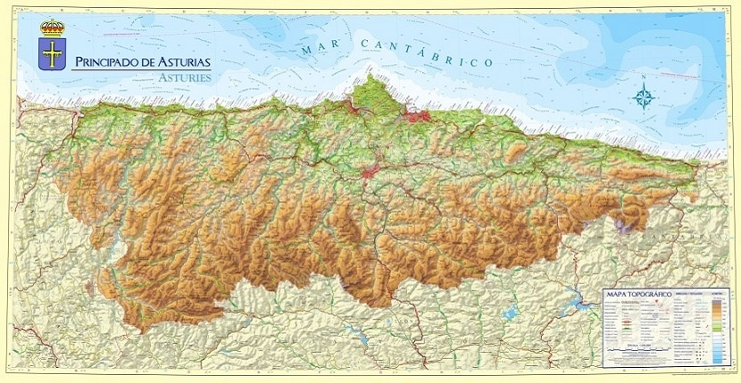 Mapa De Asturias Fisico.Descarga El Mapa Fisico De Asturias