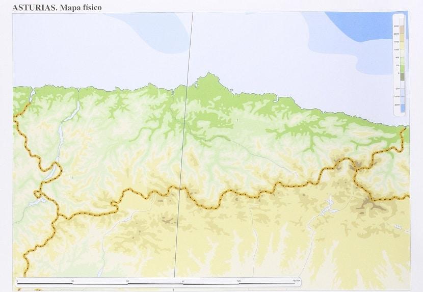 Mapa físico mudo de Asturias