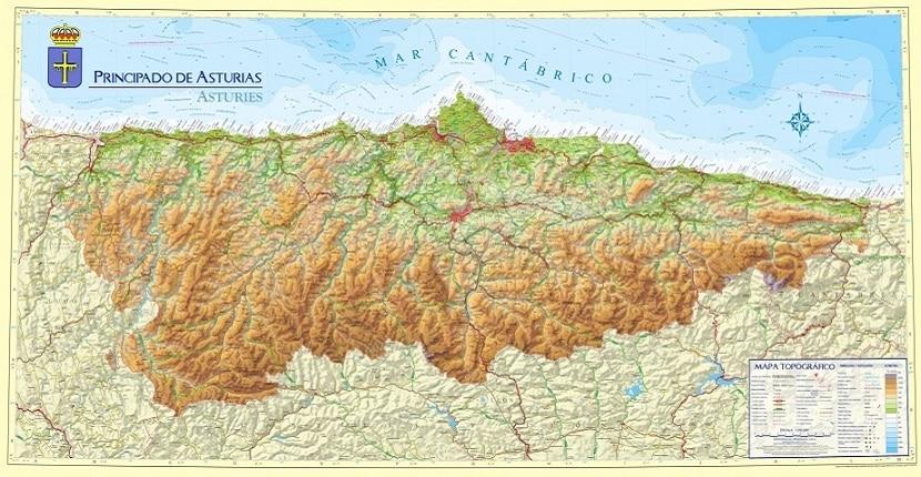 Mapa físico Asturias